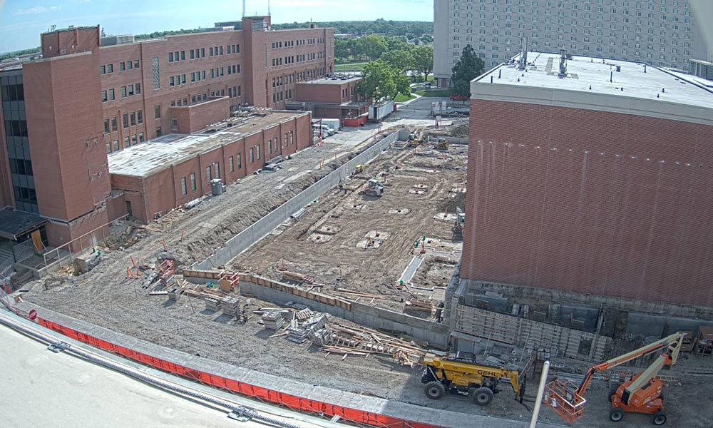 Construction view from the west of the new Scott Engineering Center and Link: June 1, 2020