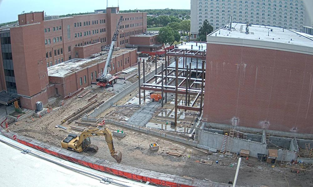Construction view from the west of the new Scott Engineering Center and Link: July 1, 2020