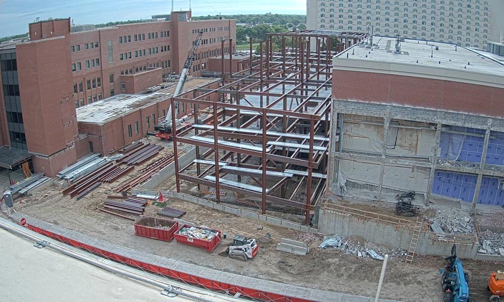 Construction view from the west of the new Scott Engineering Center and Link: August 1, 2020