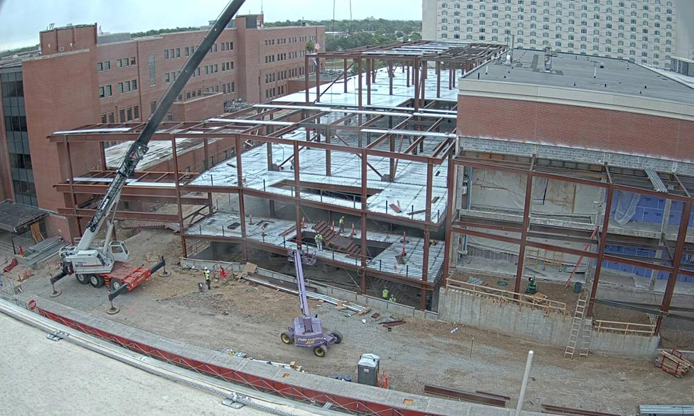 Construction view from the west of the new Scott Engineering Center and Link: September 1, 2020