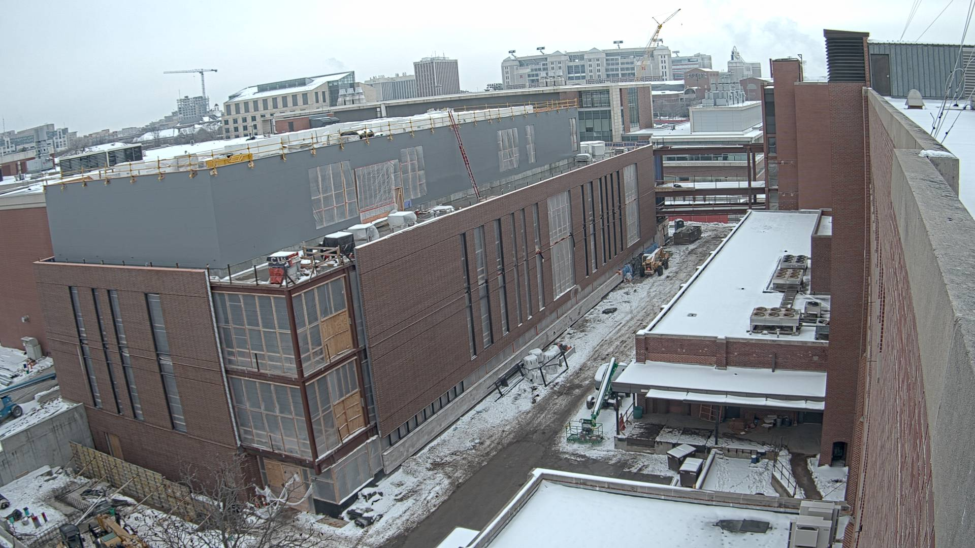 Construction view from the east of the new Scott Engineering Center and Link: January 1, 2021