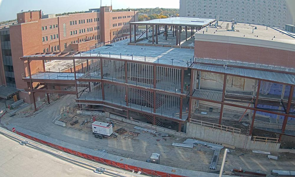 Construction view from the west of the new Scott Engineering Center and Link: October 1, 2020