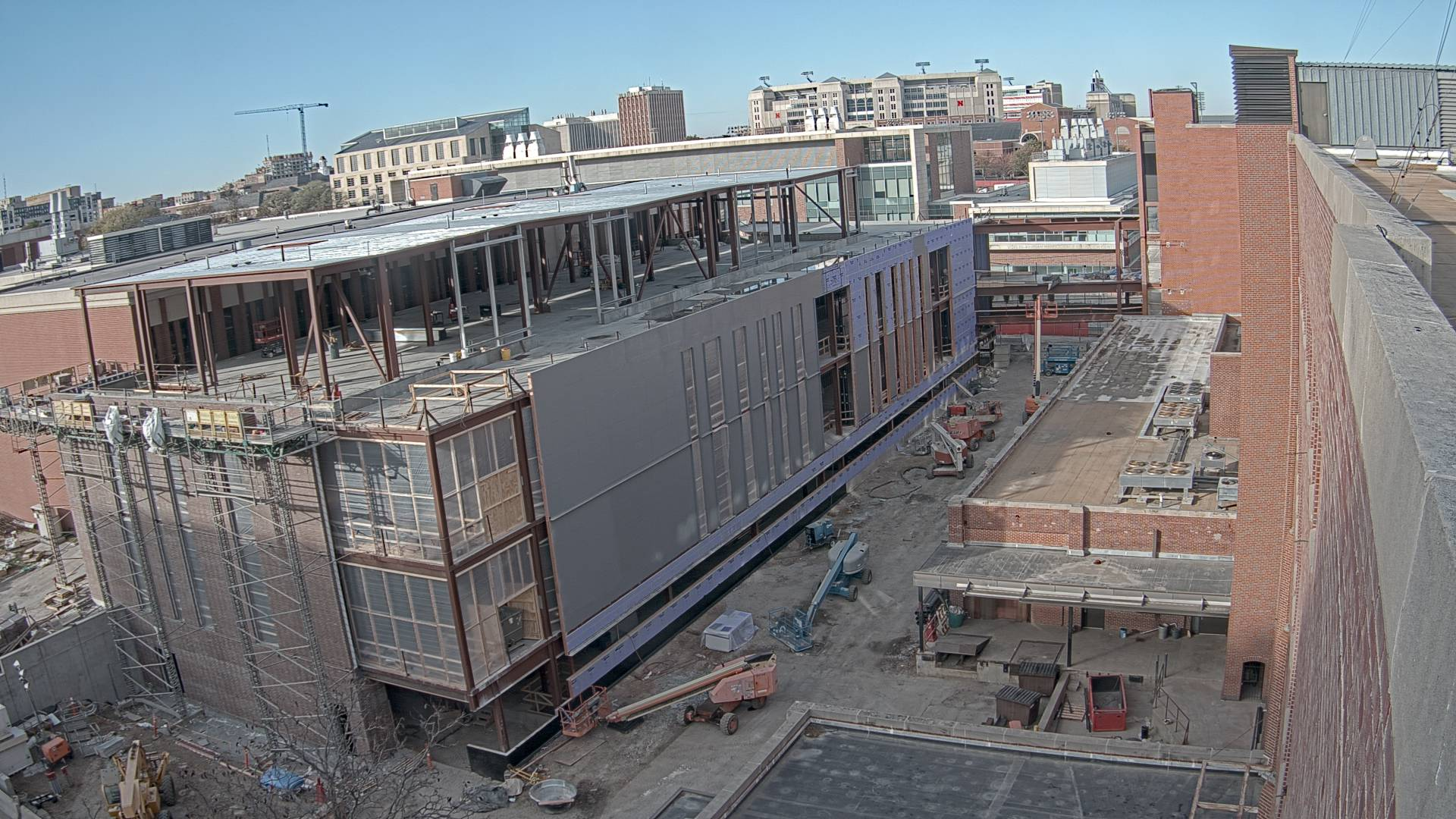 Construction view from the east of the new Scott Engineering Center and Link: November 1, 2020