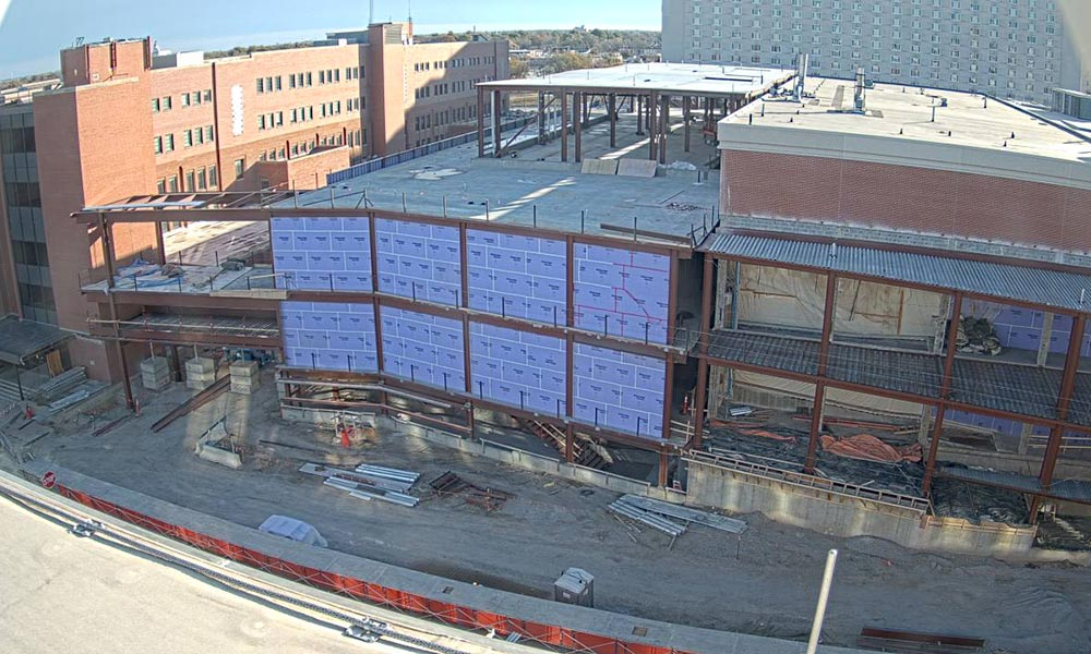 Construction view from the west of the new Scott Engineering Center and Link: November 1, 2020