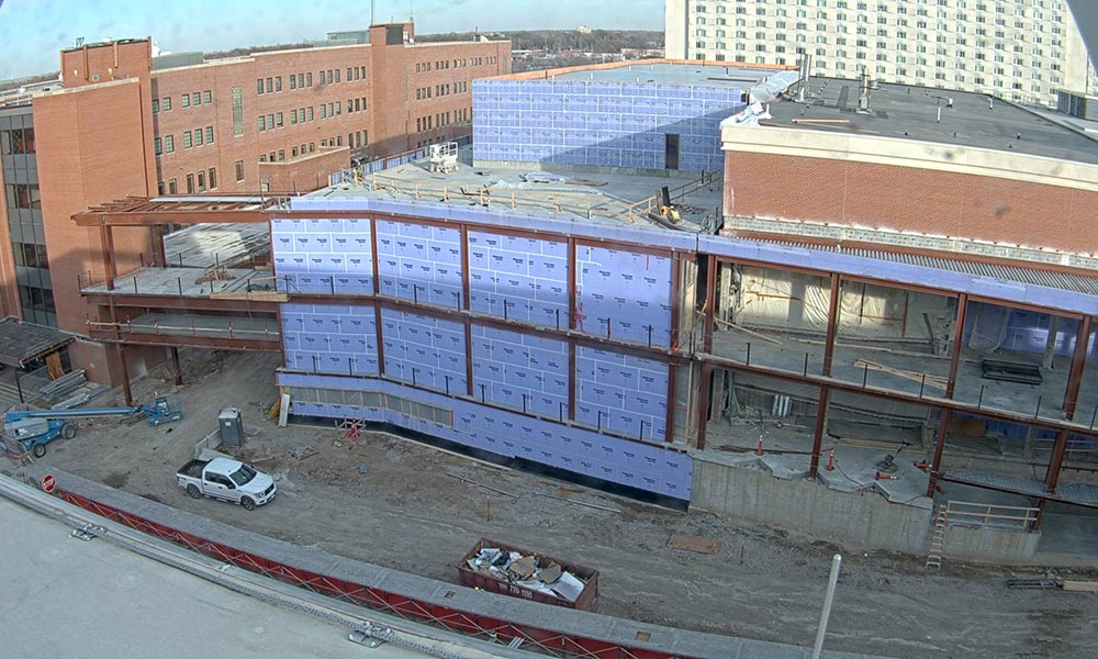 Construction view from the west of the new Scott Engineering Center and Link: December 1, 2020