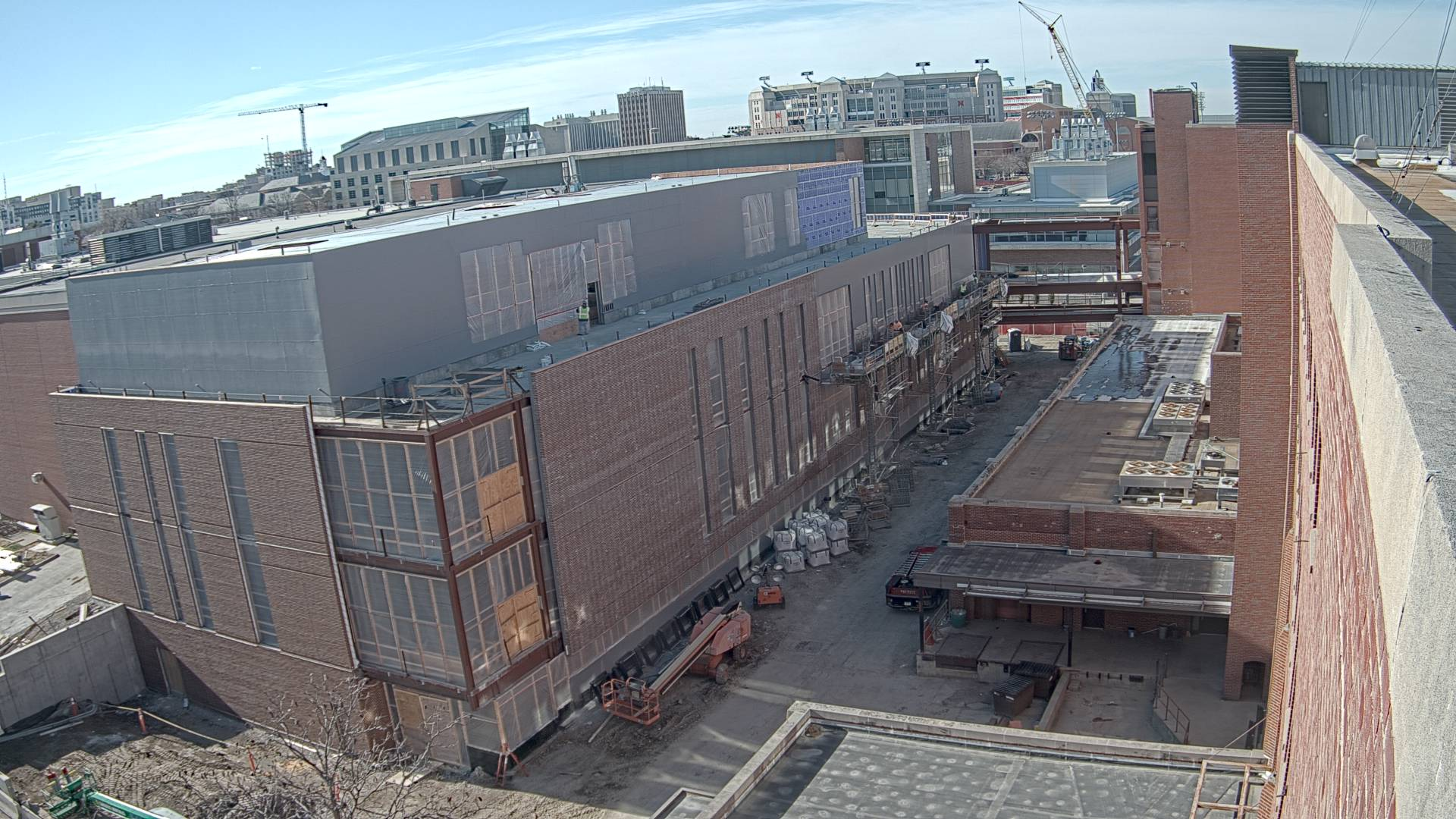 Construction view from the east of the new Scott Engineering Center and Link: December 1, 2020