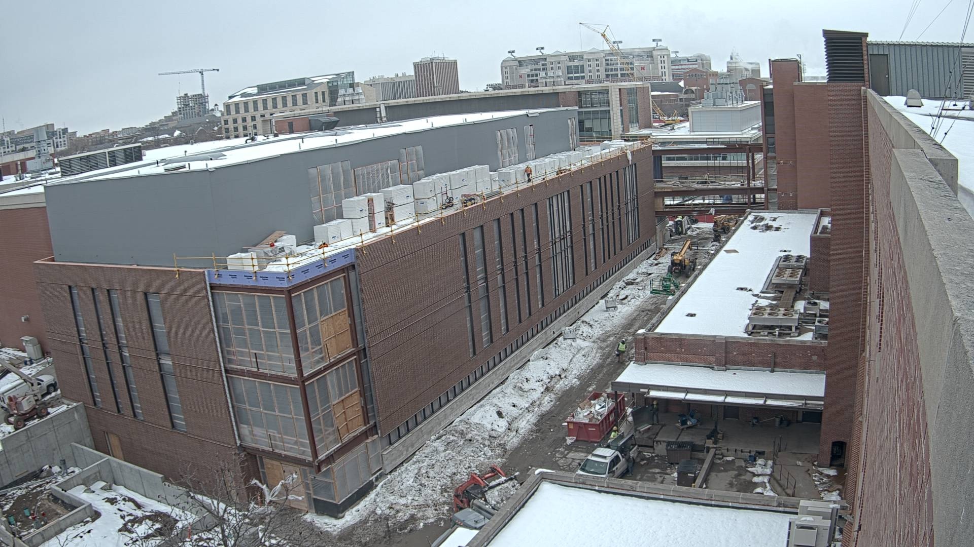 Construction view from the east of the new Scott Engineering Center and Link: February 1, 2021