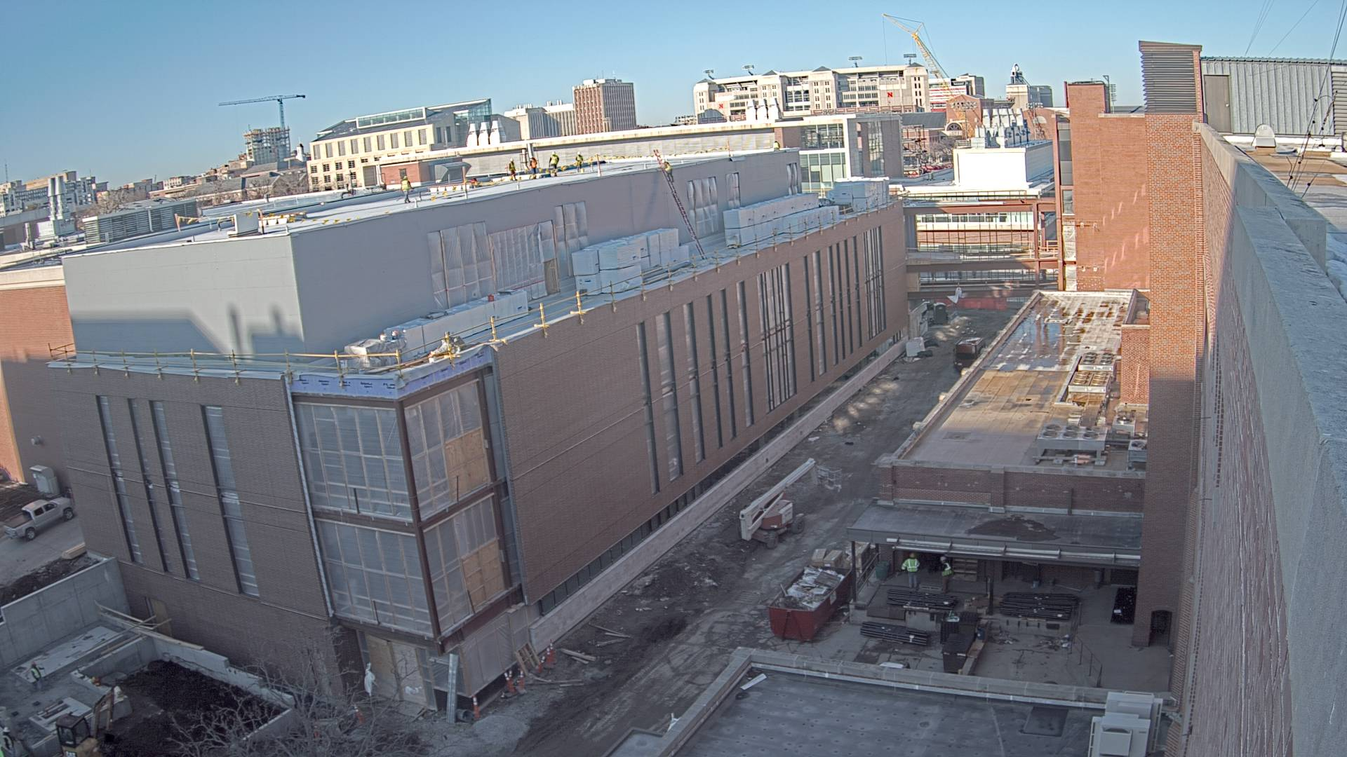 Construction view from the east of the new Scott Engineering Center and Link: March 1, 2021