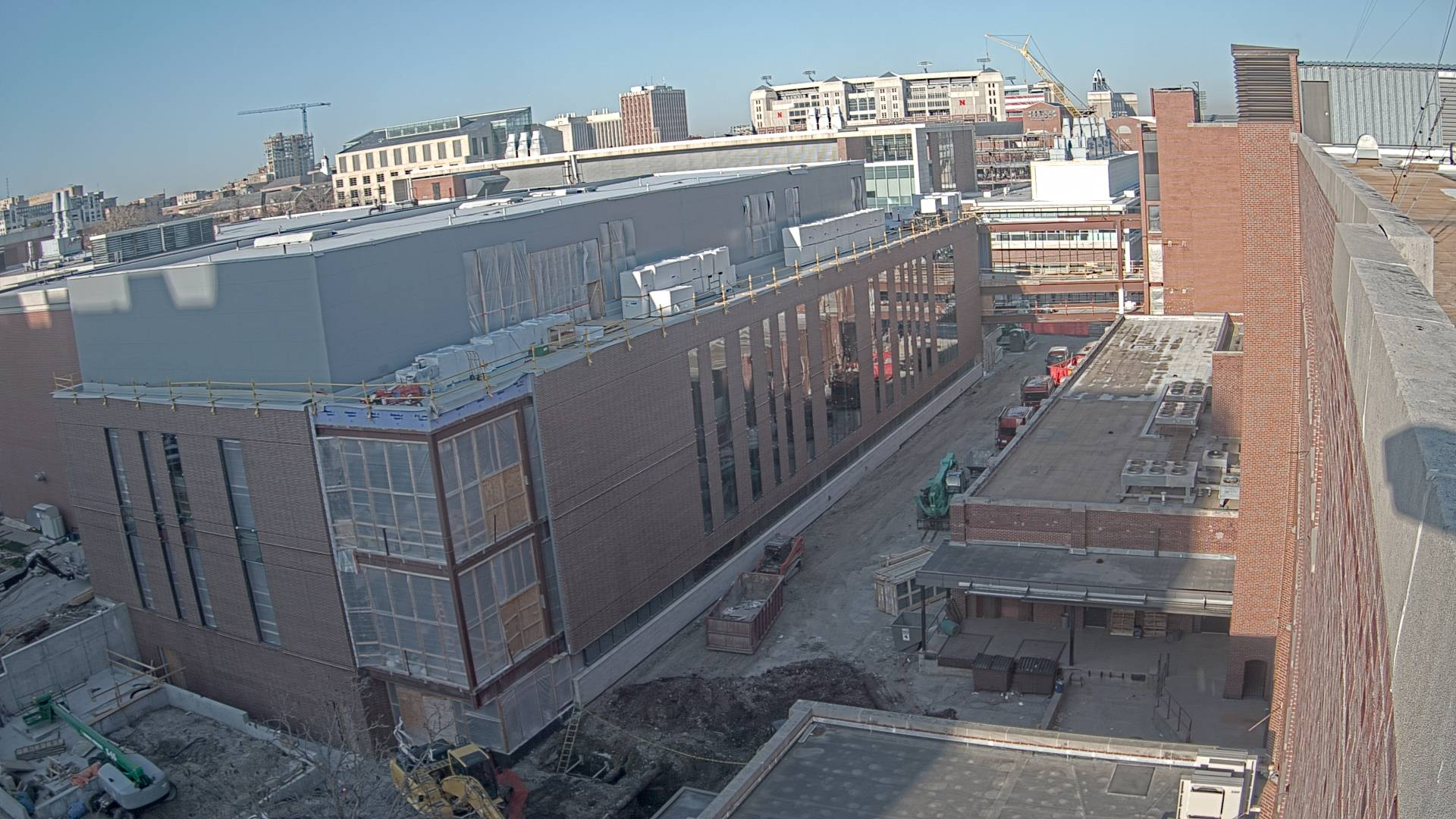 Construction view from the east of the new Scott Engineering Center and Link: April 1, 2021