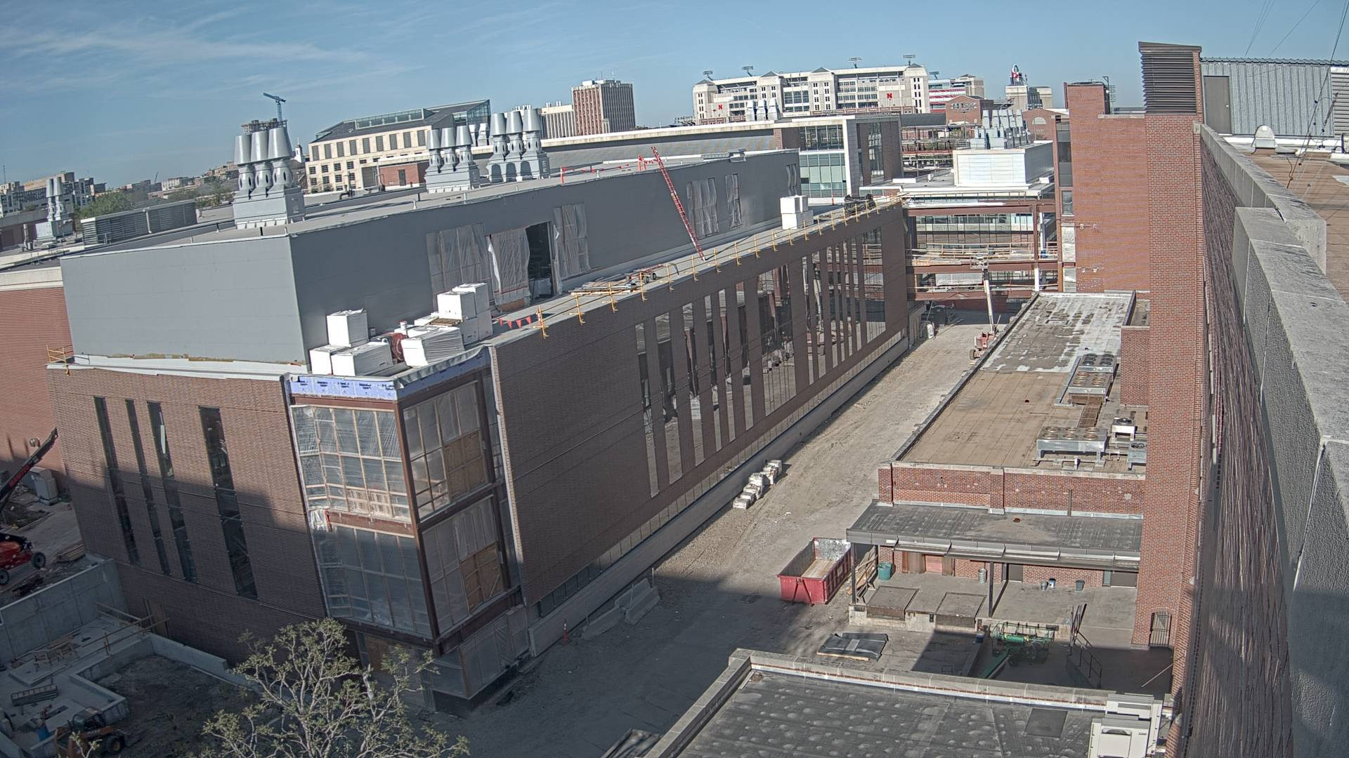 Construction view from the east of the new Scott Engineering Center and Link: May 1, 2021