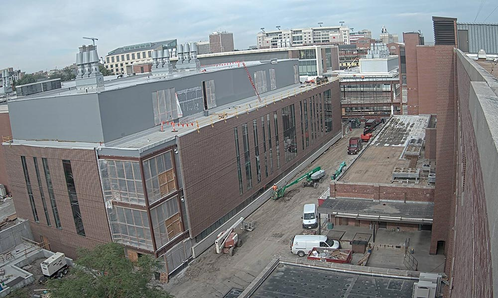 Construction view from the east of the new Scott Engineering Center and Link: June 1, 2021