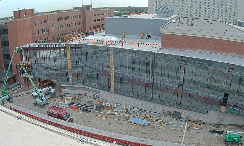 Construction view from the west of the new Scott Engineering Center and Link: June 1, 2021