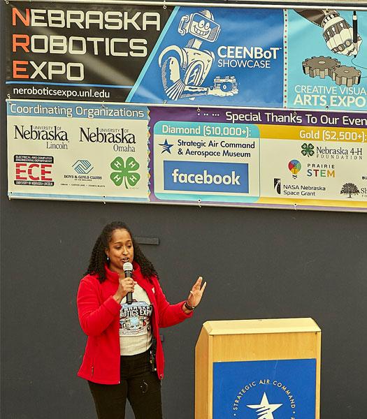 Alisa Gilmore speaking at the opening ceremonies of the Nebraska Robotics Expo in February 2020