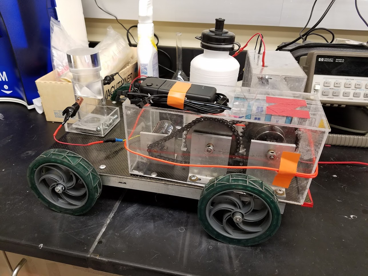 Completed car built in laboratory