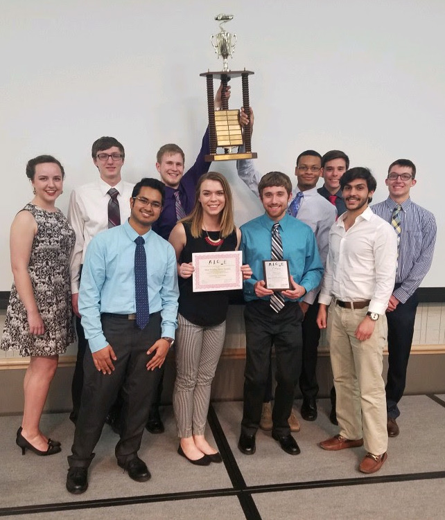 AIChE with their first place trophy