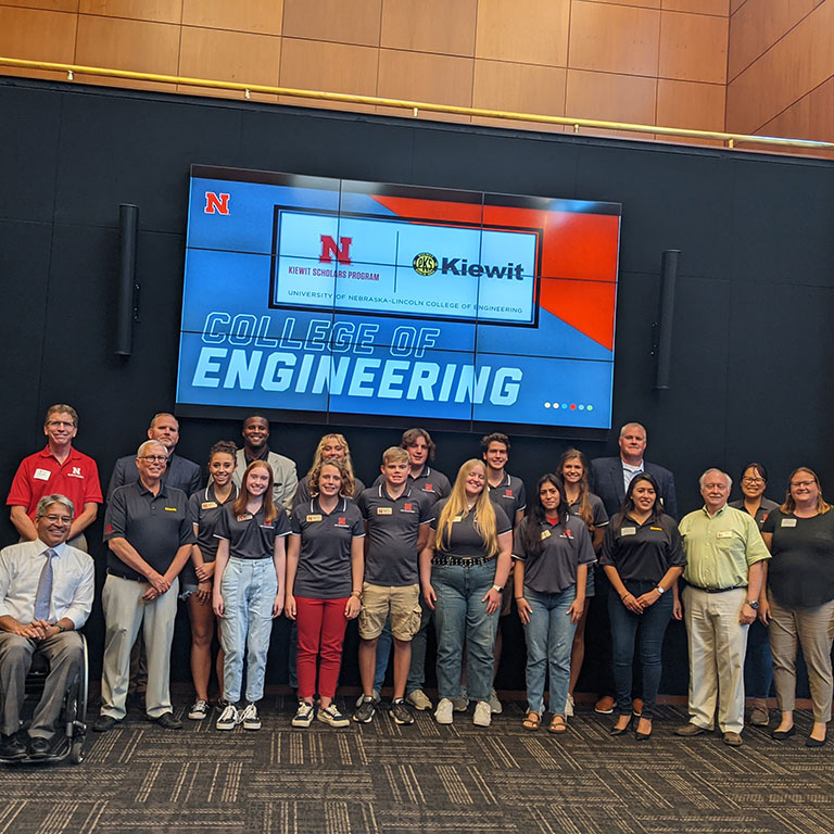 Kiewit Scholars group photo with College of Engineering leadership.