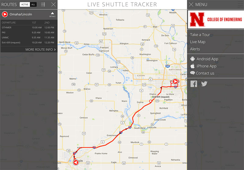 screenshot of N-E Ride Live Shuttle Tracker