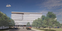 South ground view rendering of Kiewit Hall
