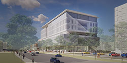 Southeast ground view rendering of Kiewit Hall