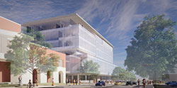 Southwest ground view rendering of Kiewit Hall