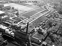 Oval tractor test track aerial view