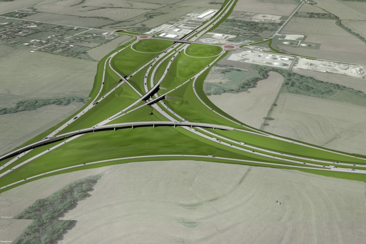 Benesch worked on the Lincoln West Interchange, aerial view of the highway interchange shown here