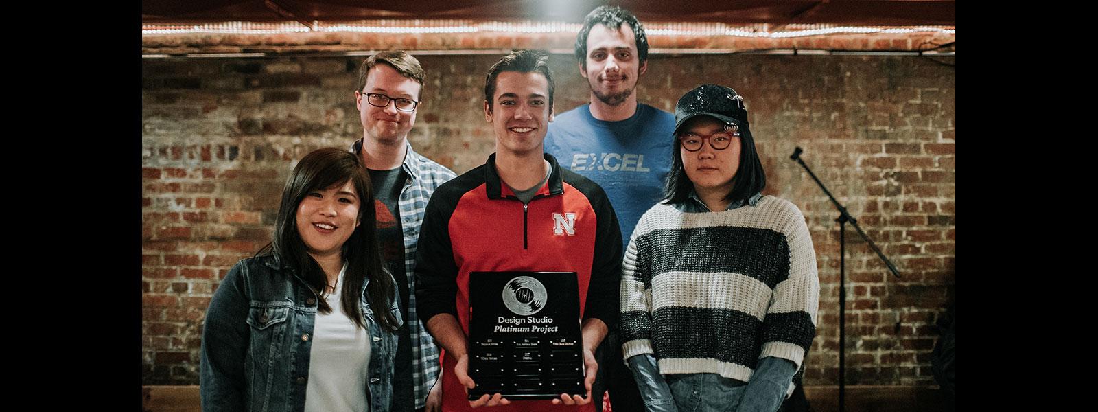 Photo of the Platinum Award Winning Computer Engineering Senior Design Team.