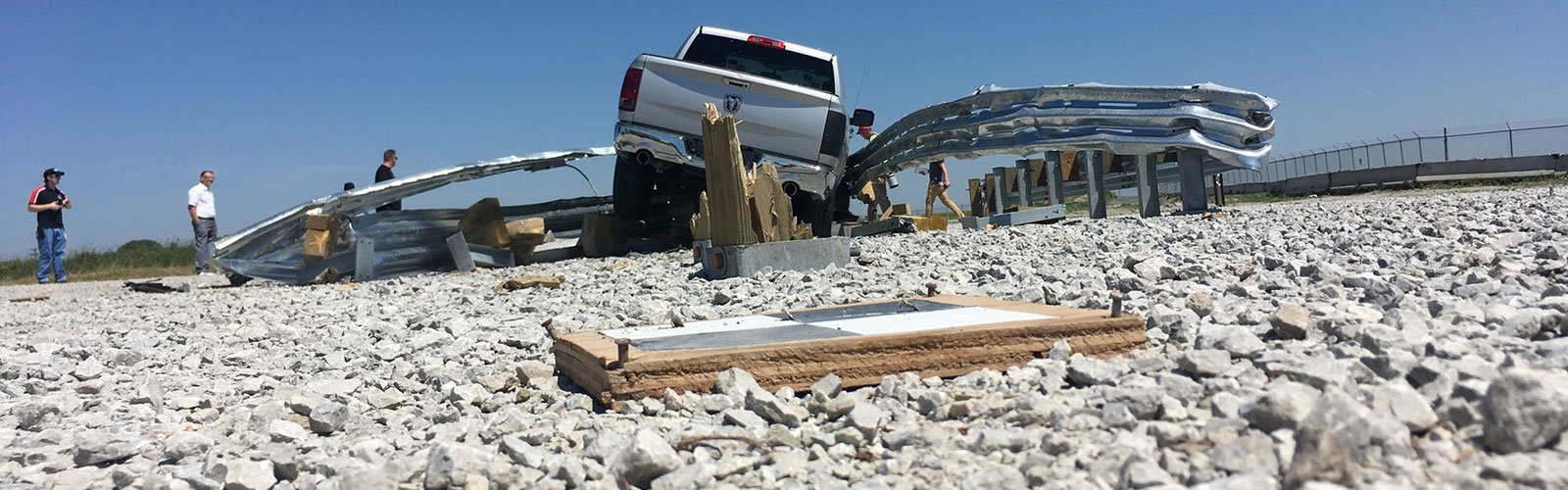 Follow-Up from Crash Test: Truck after it broke through the barrier