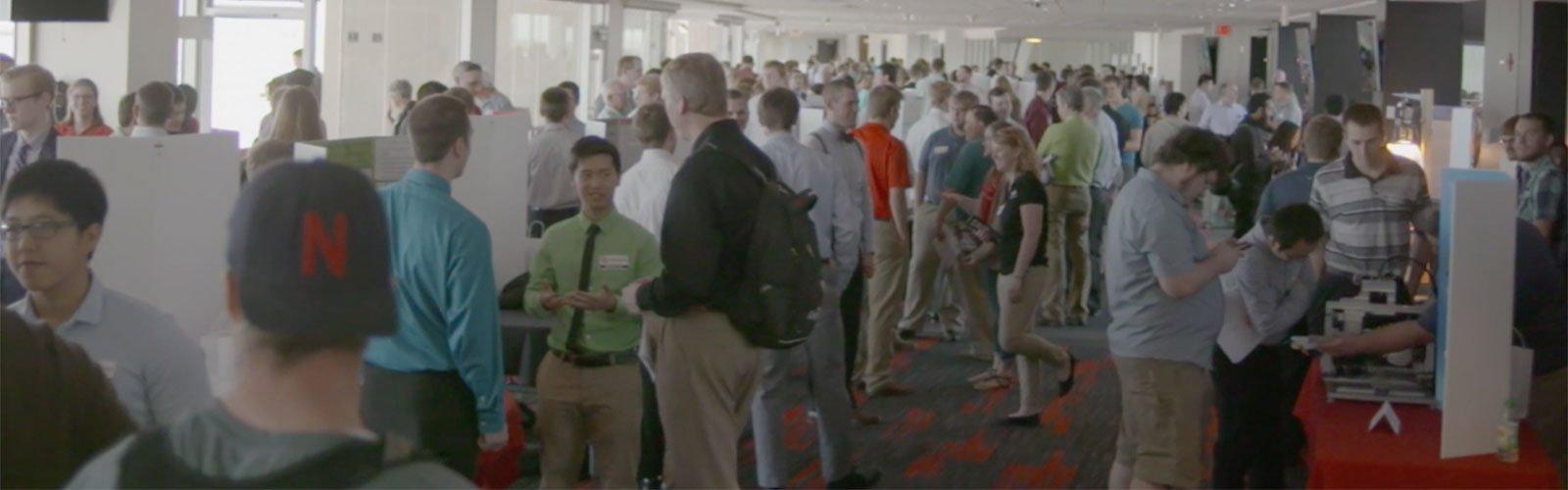 People attending the Senior Design Showcase