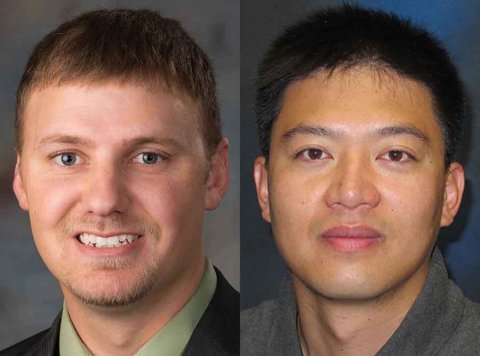 Daran Rudnick (left), associate professor of Biological Systems Engineering, and Xin Qiao, assistant professor of Biological Systems Engineering.