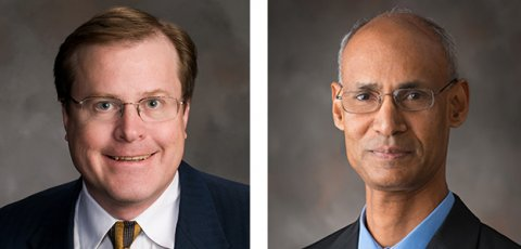 Bruce Dvorak (left) and Chittaranjan Ray, professors of Civil Engineering, are part of WINSSS, a national project that aims to bring updated technology and safer water to America's small communities.