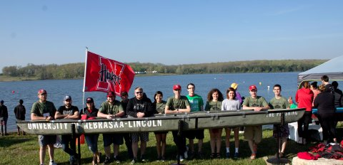 ASCE members with their canoe, The Pershing