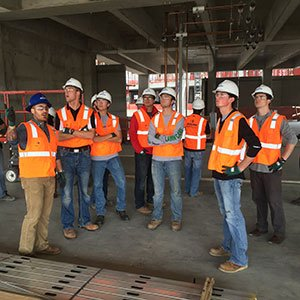 Construction management students from the Durham School of Architectural Engineering and Construction get a tour of the JE Dunn Logistics Center on October 22 in Overland Park, Kan.