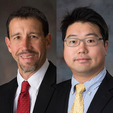Daniel Linzell (left), chair of civil engineering, and Chungwook Sim, assistant professor of civil engineering, are co-principal investigators on a collaborative effort with UNO's College of Information Science and Technology, on an NSF-funded project that aims to use big data solutions to improve the way bridge infrastructure is monitored for potential failures.