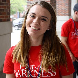 Shelby Williby, a sophomore in chemical engineering and coordinator of UNL's Out of the Darkness group, was a key figure in organizing an April 17 Campus Walk that drew more than 600 people and raised nearly $25,000 for the American Foundation for Suicide Prevention.