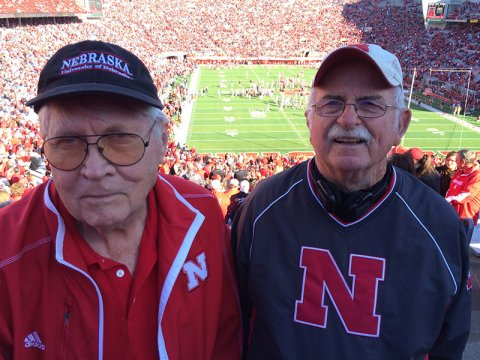 College of Engineering alums Tom Hamer (left) and Jerry Miller met at Memorial Stadium in 1964 and have had the same seats next to each other for Husker football games for the last 50 years.