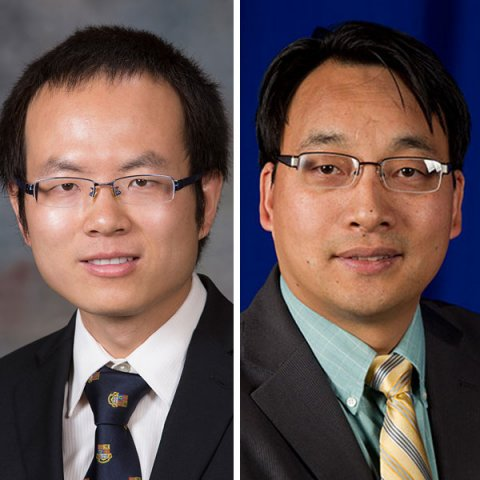 Bai Cui (left), assistant professor of mechanical and materials engineering, and Jian Wang, associate professor of mechanical and materials engineering.