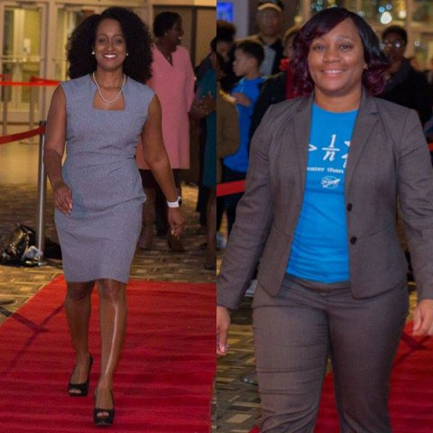 Walking the red carpet at the Jan. 19 event are Alisa Gilmore (left), associate professor of practice in electrical and computer engineering, and Terri Norton, associate professor of construction engineering.