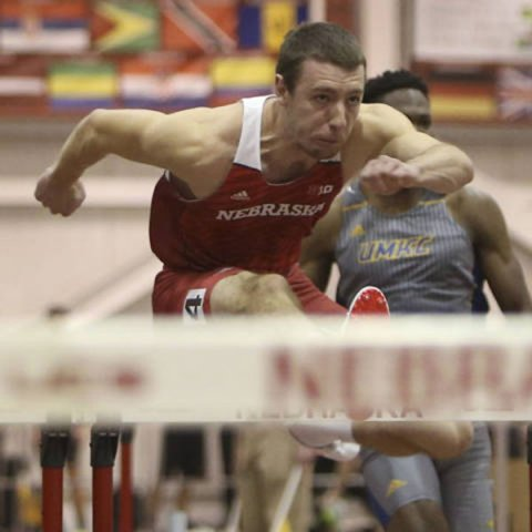 Andy Neal, a mechanical engineering major, is on the UNL track team and has indoor times in the 60-meter hurdles and 400-meter dash that are among the best in the nation.