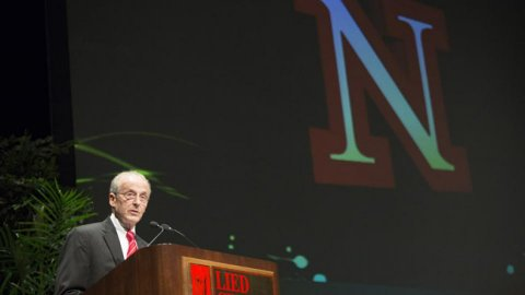 Chancellor Harvey Perlman delivers his annual State of the University address on Thursday at the Lied Center for Performing Arts, where he has delivered his annual addresses since 2000.