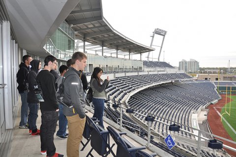 Students began the Engineering Industry Day with a tour of TD Ameritrade Park in downtown Omaha.