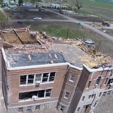 Richard Wood, assistant professor of civil engineering, and graduate students used a camera-equipped drone to capture this image of the Pilger Middle School shortly after it was struck by a tornado in June 2014.