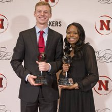 Drew Wiseman (left), a sprinter/hurdler and electrical and computer engineering major, and Tierra Williams, a triple jumper, were chosen Nebraska's Male and Female Student-Athlete of the Year Award winners, respectively.