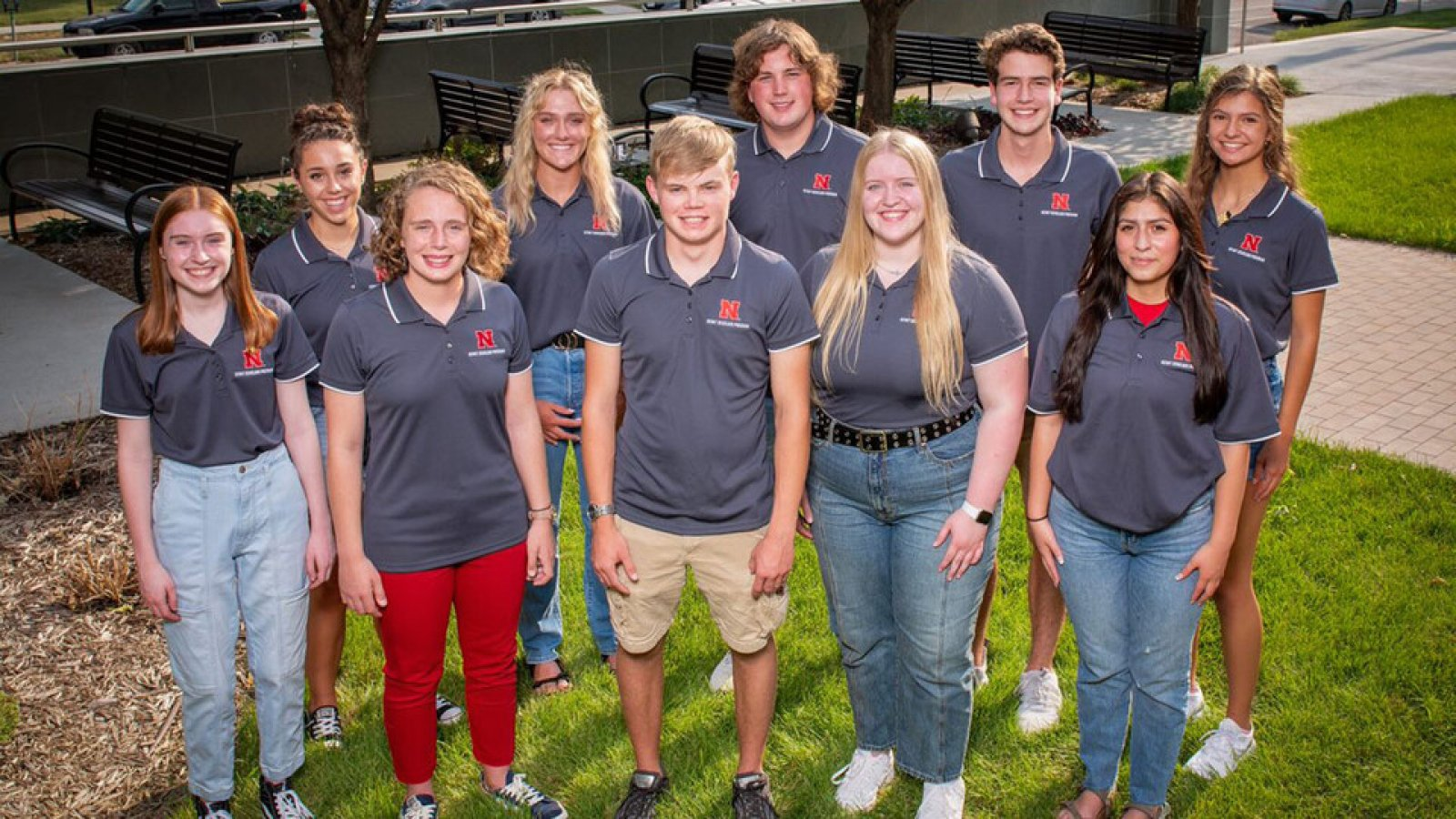 The inaugural cohort of Kiewit Scholars includes (from left) Grace Kerr, Taylor Hosick, Carolyn Fairchild, Nicole Dirks, Wyatt Cassidy, Scott Tvrdy, Hayden Wulf, Matt Feldmann, Felicity Sierra, and Rebeca Young.