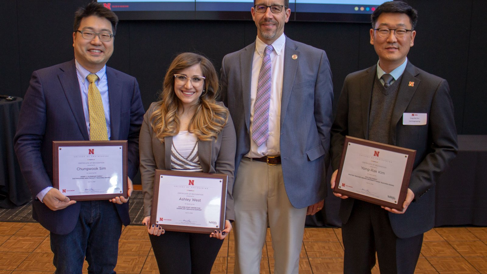 Left to right: Dr. Chungwook Sim, Ashley West, Dr. Daniel Linzell and Dr. Yong-Rak Kim. Not pictured: Dr. Libby Jones and Dr. John Stansbury
