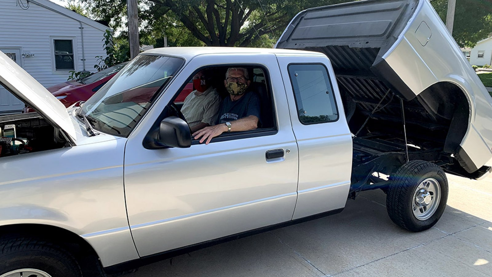Paul Smith, who lives in Blair, donated this 1994 Ford Ranger pickup that he converted to all-electrical systems. Jerry Hudgins, chair of electrical and computer engineering, met Smith in October to receive the donated truck.