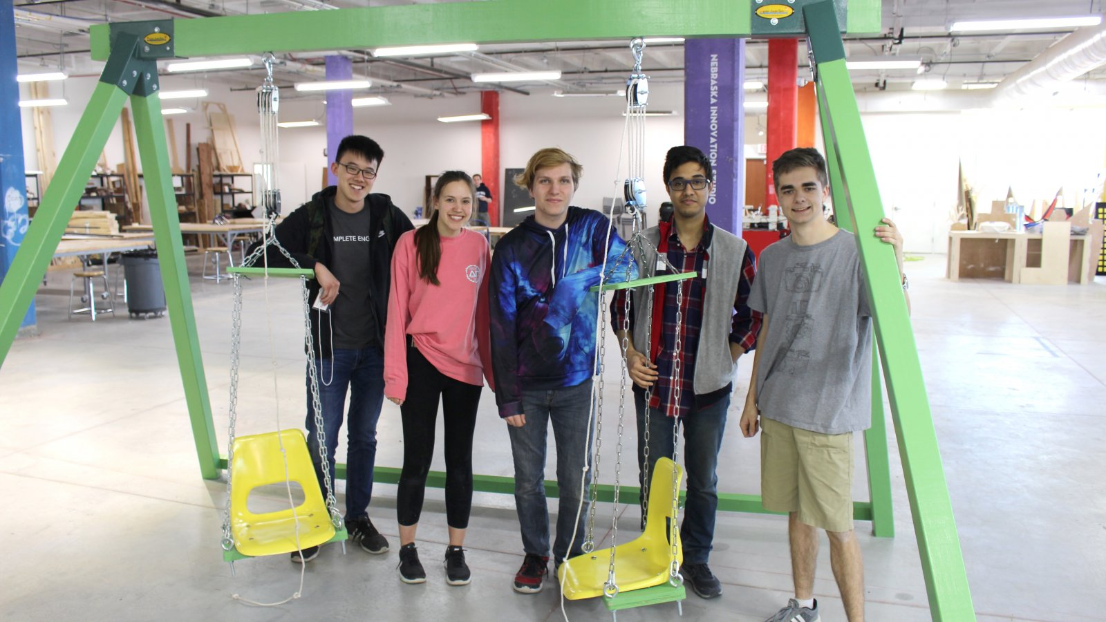 Nebraska Engineering students were part of the Nebraska Theme Park Design Group, which designed and built a new attraction - the Superhero Swing - for the Lincoln Children's Museum.