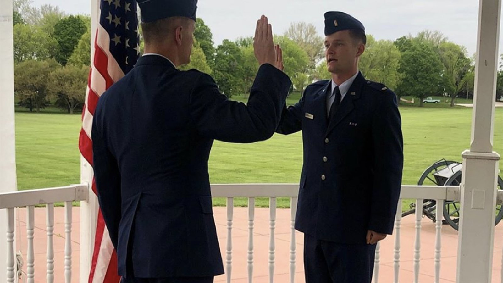 Justin Humphrey (right), who graduate this spring with a degree in civil engineering, recently received his military commission as a second lieutenant in the Air Force. He is one of six 2020 Nebraska Engineering graduates and ROTC cadets to receive commissions.