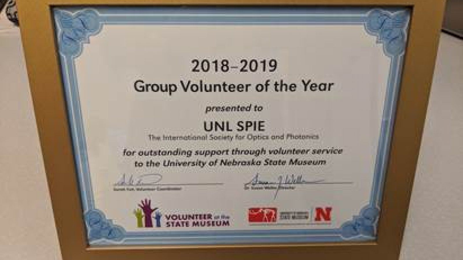 The Nebraska student chapter of SPIE, the international society for optics and photonics, was honored as the 2019 Group Volunteer of the Year by the State Museum.