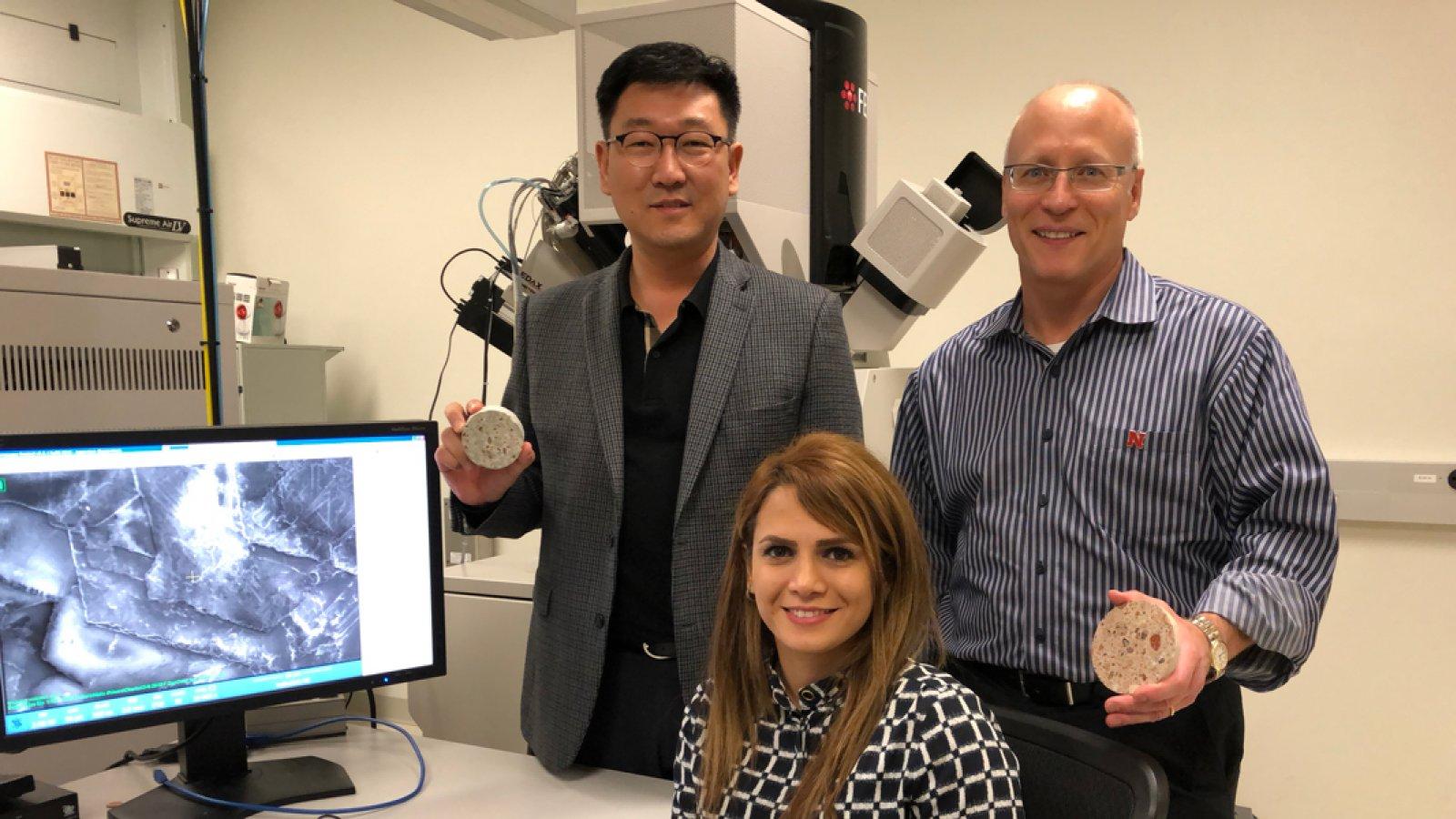 Drs. Yong-Rak Kim, Joseph Turner, and civil engineering graduate student Mahdieh Khedmati.